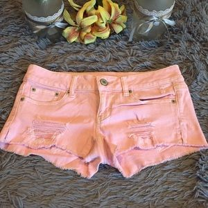 American Eagle Pink Jean Shorts Size 4